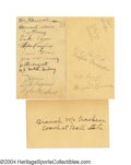 Basketball Collectibles:Photos, 1930s Big Ten Basketball Signed Government Postcard ... (3 items)