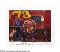 Basketball Collectibles:Photos, 1973 New York Knicks Signed Robert Stephen Simon Lithograph ... (5items)