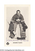 Hockey Collectibles:Others, Jacques Plante Signed Exhibit Card He led Montreal to six ...