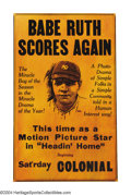 "Baseball Collectibles:Others, Babe Ruth 1920 ""Headin' Home"" Original Release Window Card ..."