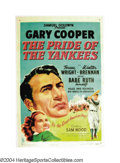 "Baseball Collectibles:Others, 1949 ""Pride of the Yankees"" One-Sheet Movie Poster Though ..."