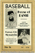 Baseball Collectibles:Publications, 1950 House of David vs. Kansas City Monarchs Program In ...