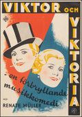 """Movie Posters:Foreign, Viktor and Viktoria (UFA, 1934). Fine/Very Fine on Linen. Swedish One Sheet (27.5"""" X 39.5""""). Foreign.. ..."""