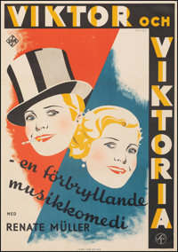 "Viktor and Viktoria (UFA, 1934). Fine/Very Fine on Linen. Swedish One Sheet (27.5"" X 39.5""). Foreign"