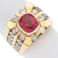 Estate Jewelry:Rings, Gentleman's Pink Spinel, Diamond, Gold Ring . ...