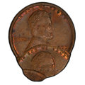 Errors, 1920 1C Lincoln Cent -- Triple Struck, Second and Third Strikes 70% and 90% Off Center -- MS63 Brown PCGS. A fascinating tr...