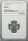 Lincoln Cents: , 1943-D 1C MS67 NGC. NGC Census: (3552/62). PCGS Population: (2505/153). CDN: $130 Whsle. Bid for NGC/PCGS MS67. Mintage 217...