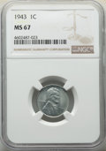 Lincoln Cents: , 1943 1C MS67 NGC. NGC Census: (3868/29). PCGS Population: (1832/73). CDN: $100 Whsle. Bid for NGC/PCGS MS67. Mintage 684,62...
