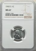 Lincoln Cents: , 1943-S 1C MS67 NGC. NGC Census: (2667/55). PCGS Population: (2159/119). CDN: $180 Whsle. Bid for NGC/PCGS MS67. Mintage 191...