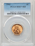 Lincoln Cents: , 1941 1C MS67+ Red PCGS. PCGS Population: (298/1 and 47/0+). NGC Census: (838/0 and 13/0+). CDN: $90 Whsle. Bid for NGC/PCGS...