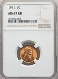 Lincoln Cents: , 1941 1C MS67 Red NGC. NGC Census: (838/0). PCGS Population: (298/1). CDN: $90 Whsle. Bid for NGC/PCGS MS67. Mintage 887,039...