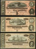 Confederate Notes:1864 Issues, T67 $20 1864 Extremely Fine;. T68 $10 1864 Very Fine-Extremely Fine;. T69 $5 1864 Extremely Fine-About Uncirculated.... (Total: 3 notes)