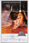 Movie/TV Memorabilia:Autographs and Signed Items, Star Wars Cast Signed Poster....