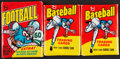 Basketball Cards:Unopened Packs/Display Boxes, 1975 Topps Mini & 1975 Topps Football Wax Packs, Lot of 3. ...