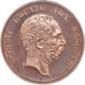 "German States:Saxony, German States: Saxony. Albert bronzed-copper Off-Metal Specimen ""House of Wettin"" 5 Mark 1889-E SP66 Brown PCGS,..."