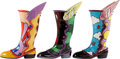 Music Memorabilia:Memorabilia, The Beatles Three Large Yellow Submarine Flying Winged Boots-Kinky Boots- Artist Proofs Plus No.1 (3). ...