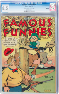 Famous Funnies #104 Rockford Pedigree (Eastern Color, 1943) CGC VF+ 8.5 Cream to off-white pages
