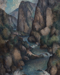 Warren Wheelock (American, 1880-1960) River Gorge, Ulster County Oil on canvas 20 x 16 inches (50.8 x 40.6 cm) Faint