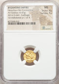 Ancients:Byzantine, Ancients: Heraclius (AD 610-641) and Heraclius Constantine (AD 613-641). AV solidus (13mm, 4.47 gm, 7h). NGC MS 4/5 - 5/5....