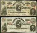 Confederate Notes:1863 Issues, T56 $100 1863 PF-1 Cr. 403; PF-2 Cr. 404 Very Fine or Better.. ... (Total: 2 notes)