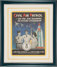 Jerry Lewis Rare Personally Owned Visit to a Small Planet Civil Air Patrol Recruiting Poster (1960)
