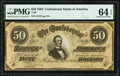 Confederate Notes:1864 Issues, T66 $50 1864 PF-5 Cr. 498 PMG Choice Uncirculated 64 EPQ.. ...