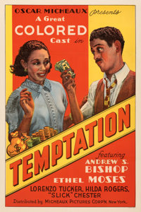 "Temptation (Micheaux Film Corporation, 1935). Fine/Very Fine on Linen. One Sheet (27"" X 41"")"
