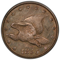 1855 1C Flying Eagle Cent, Judd-170a, Pollock-Unlisted, R.7 -- Graffiti -- PCGS Genuine. Proof, AU Details....(PCGS# 624...