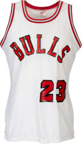 Basketball Collectibles:Uniforms, 1984 Michael Jordan Earliest Known Worn Chicago Bulls Rookie Jersey--Photo Matched!...