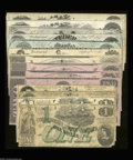 Confederate Notes:Group Lots, Almost Complete 1862 CSA Type Set.