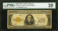 Small Size:Gold Certificates, Fr. 2407 $500 1928 Gold Certificate. PMG Very Fine 20.. ...