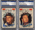 Autographs:Sports Cards, Signed 1961 Topps Roger Maris & Mickey Mantle All-Star Cards Pair (2). ... (Total: 2 items)