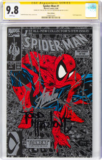 Spider-Man #1 Silver Edition - Signature Series: Stan Lee and Todd McFarlane (Marvel, 1990) CGC NM/MT 9.8 White pages...