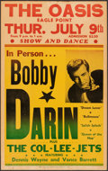 """Movie Posters:Rock and Roll, Bobby Darin at The Oasis (1959). Fine+. Concert Window Card (14"""" X 22.25""""). Rock and Roll.. ..."""
