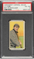 Baseball Cards:Singles (Pre-1930), 1909-11 T206 Sweet Caporal 350/25 Ty Cobb (Bat On Shoulder) PSA VG-EX 4 - Pop One, Three Higher For Brand/Series. ...