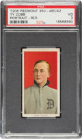 Baseball Cards:Singles (Pre-1930), 1909-11 T206 Piedmont 350-460/42 Ty Cobb (Portrait-Red) PSA VG 3 - Pop Two, Only Three Higher For Brand. ...