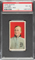Baseball Cards:Singles (Pre-1930), 1909-11 T206 Tolstoi Ty Cobb (Portrait-Red) PSA VG-EX 4 - Pop Four, Only One Higher For Brand. ...