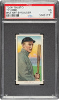 Baseball Cards:Singles (Pre-1930), 1909-11 T206 Tolstoi Ty Cobb (Bat Off Shoulder) PSA EX 5 - Pop Two, None Higher For Brand! ...
