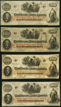 Confederate Notes:1862 Issues, T41 $100 1862 Four Examples Very Fine-Extremely Fine or Better.. ... (Total: 4 notes)