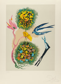Salvador Dali (1904-1989) Madam butterfly & the dream (two works), 1978 Lithographs in colors on Arc