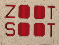 Ed Ruscha (b. 1937) Zoot Soot, 2015 Die-Cut letterpress, on handmade paper with colored threads 1