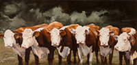 Oleg Stavrowsky (Russian/American, b. 1927) Herefords Oil on canvas 39-1/2 x 83-1/2 inches (100.3