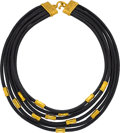 Estate Jewelry:Necklaces, Leather, Gold Necklace, Denise Roberge . ...