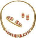 Estate Jewelry:Suites, Diamond, Coral, Mother-of-Pearl, Gold Jewelry Suite. ... (Total: 3 Items)