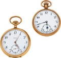 Timepieces:Pocket (post 1900), Swiss Two Large Gold Watches, 14k & 9k Gold, circa 1905. ... (Total: 2 Items)