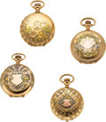 Timepieces:Pocket (post 1900), Four 14k Multicolor Gold O Size Watches, Two Waltham, Elgin, Longines. ... (Total: 4 Items)