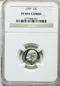 Proof Roosevelt Dimes, 1959 10C PR69★ Cameo NGC. NGC Census: (101/0 and 4/0*). PCGS Population: (23/0 and 4/0*). ...