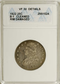 Bust Quarters: , 1822 25C --Cleaned, Rim Damaged--ANACS. VF30 Details. B-1, R.2. NGC Census: (12/66). PCGS Population (3/55). Mintage: 64,080...