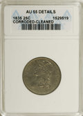 Bust Quarters: , 1835 25C --Cleaned, Corroded--ANACS. AU55 Details. NGC Census: (39/125). PCGS Population (24/85). Mintage: 1,952,000. Numism...