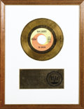 "Music Memorabilia:Awards, Beatles ""Hello, Goodbye"" RIAA Gold Single Award. Presented to theBeatles by the RIAA to commemorate the sale of 500,000 cop..."